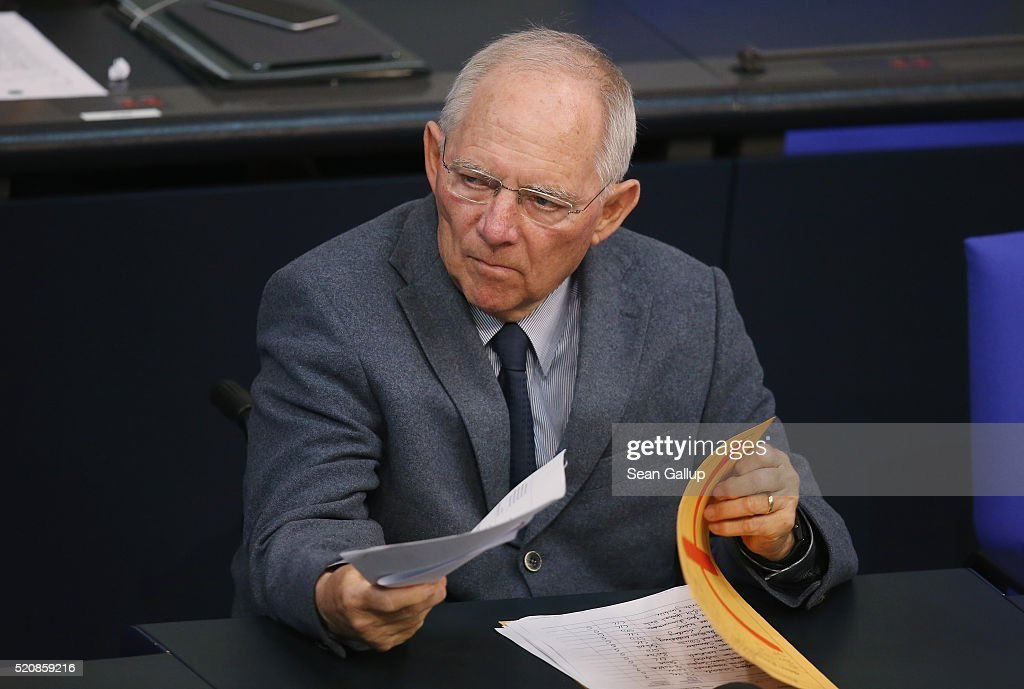 German Finance Minister Wolfgang Schaeuble attends debates at the Bundestag during an extraordinary discussion over foreign tax havens following revelations stemming from the Panama Papers on April 13, 2016 in Berlin, Germany. Schaeuble has presented a 10-point-plan for combating global tax evasion that includes increased transparency of shell corporations and the benificiaries behind them. Critics however are arguing that his plans do not go far enough. Meanwhile Panamanian law enforcement officers today raided the office of Mossack Fonseca, the company at the center of the Panama Papers affair.