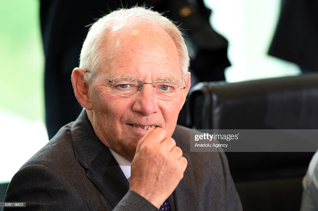 German Finance Minister Wolfgang Schaeuble attends the weekly cabinet meeting at the Chancellery in Berlin, Germany on May 04, 2016.