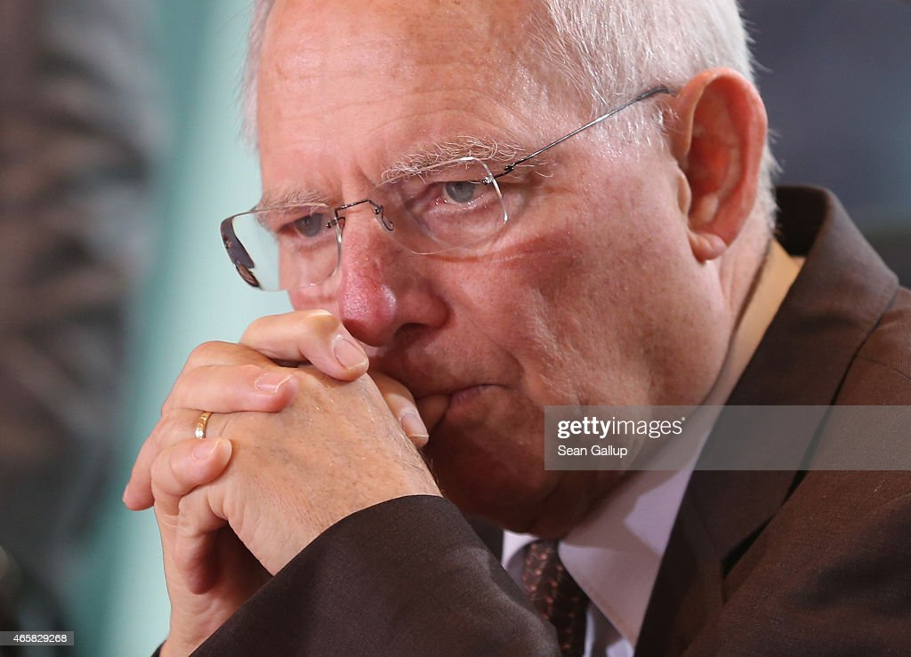 German Finance Minister Wolfgang Schaeuble attends the weekly German government cabinet meeting on March 11, 2015 in Berlin, Germany. Schaeuble has been among the staunchest opponents of acceeding to recent Greek demands over its debt obligations.