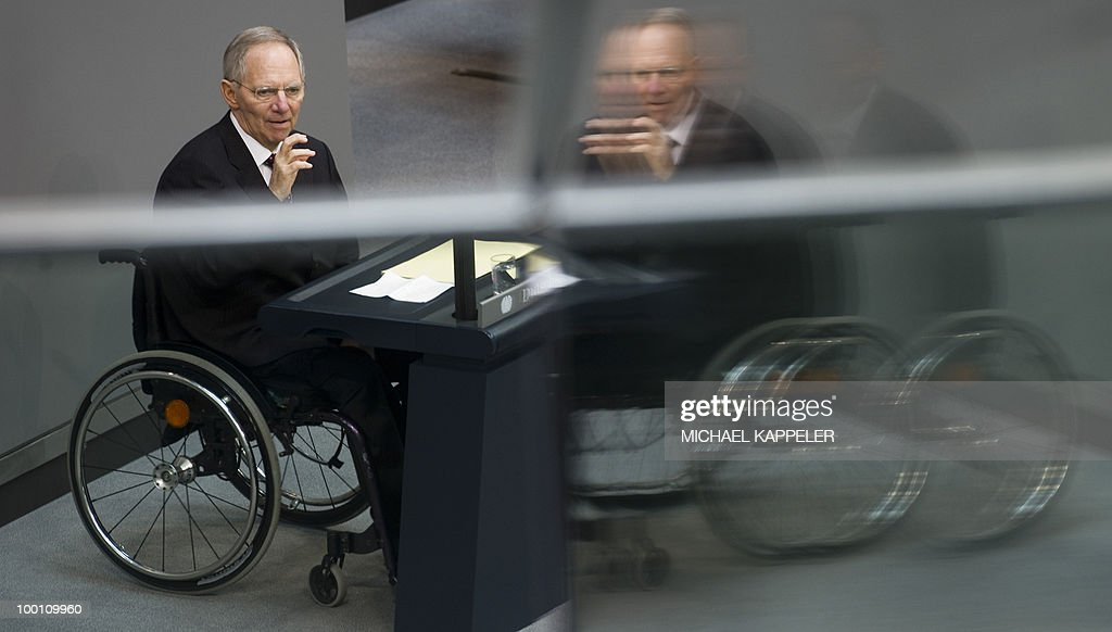 German Finance Minister Wolfgang Schaeuble delivers a speech during a debate at the Bundestag, the lower house of parliament, on May 21, 2010 in Berlin. The German parliament is set to unblock its share of a trillion-dollar rescue package for debt-stricken eurozone countries , after Chancellor Angela Merkel warned the euro was 'in danger'.