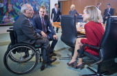 German Finance Minister Wolfgang Schaeuble German Health Minister Daniel Bahr and German Family Minister Kristina Schroeder prior to the weekly...