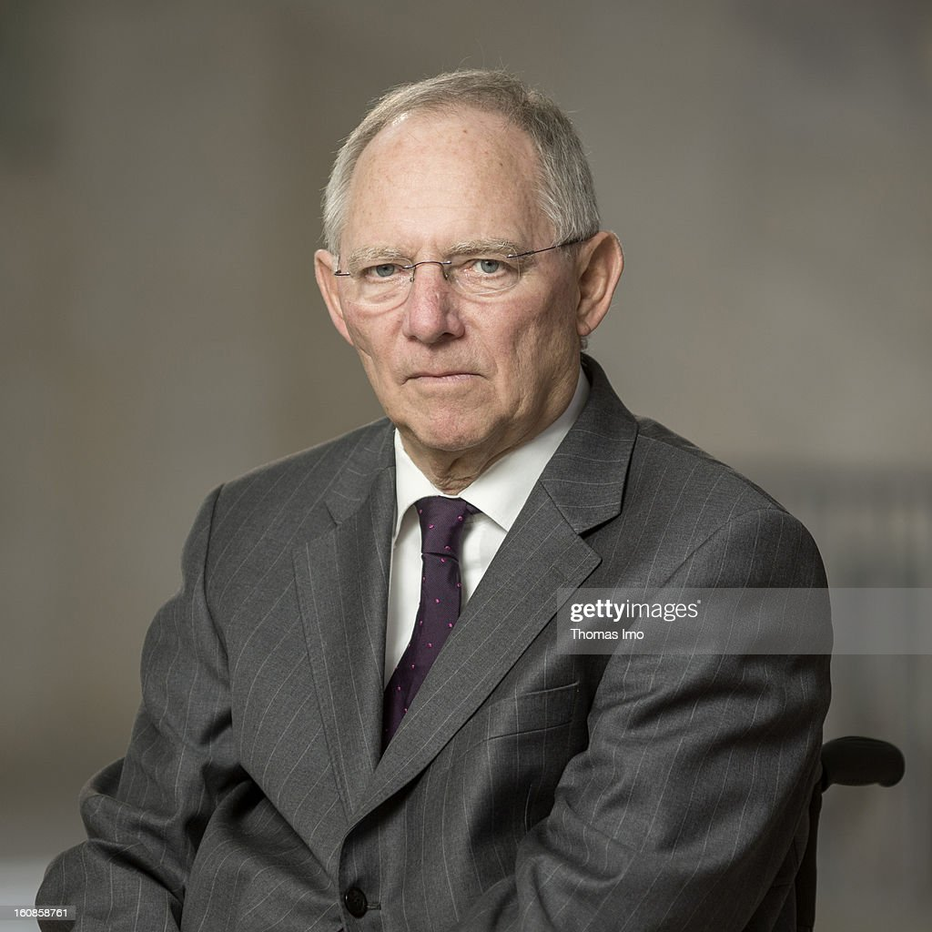 German Finance Minister Wolfgang Schaeuble poses during a portrait session on February 06, 2013 in Berlin, Germany.