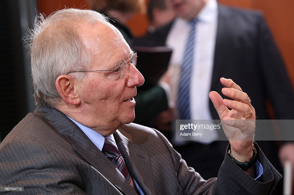 German Finance Minister Wolfgang Schaeuble speaks as he arrives for the German federal cabinet meeting on February 19, 2013 in Berlin, Germany. High on the cabinet meeting agenda will be Germany's military role in Mali, for which the country has already promised logistical support based on the situation on the ground to help an initial battle against Islamic insurgents. Germany has also pledged two C-160 transport planes as well as backing an EU plan to send 200 military advisers to the African nation.