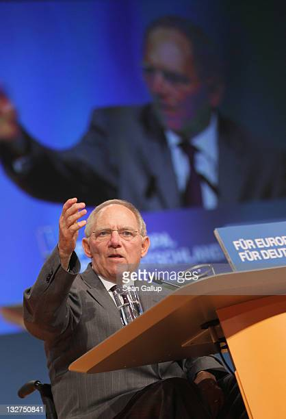 German Finance Minister Wolfgang Schaeuble speaks at the 24th Party Congress of the German Christian Democrats on November 14 2011 in Leipzig Germany...