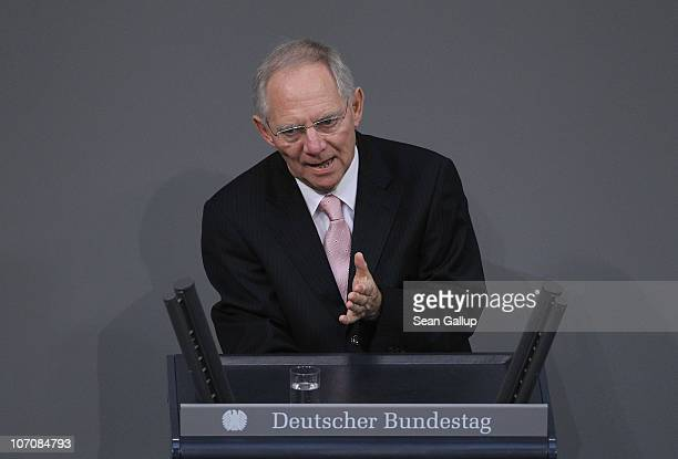 German Finance Minister Wolfgang Schaeuble speaks at the Bundestag seat of the German parliament during the first day of debates over the 2011 German...