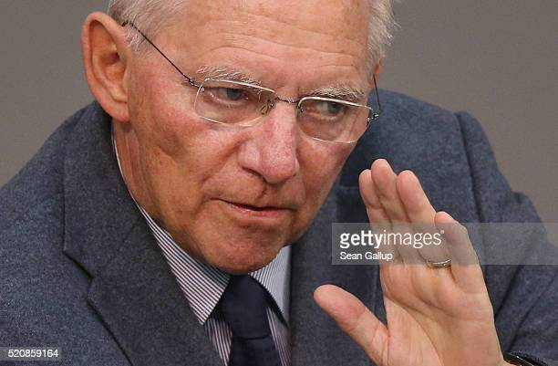 German Finance Minister Wolfgang Schaeuble speaks at the Bundestag during an extraordinary discussion over foreign tax havens following revelations...