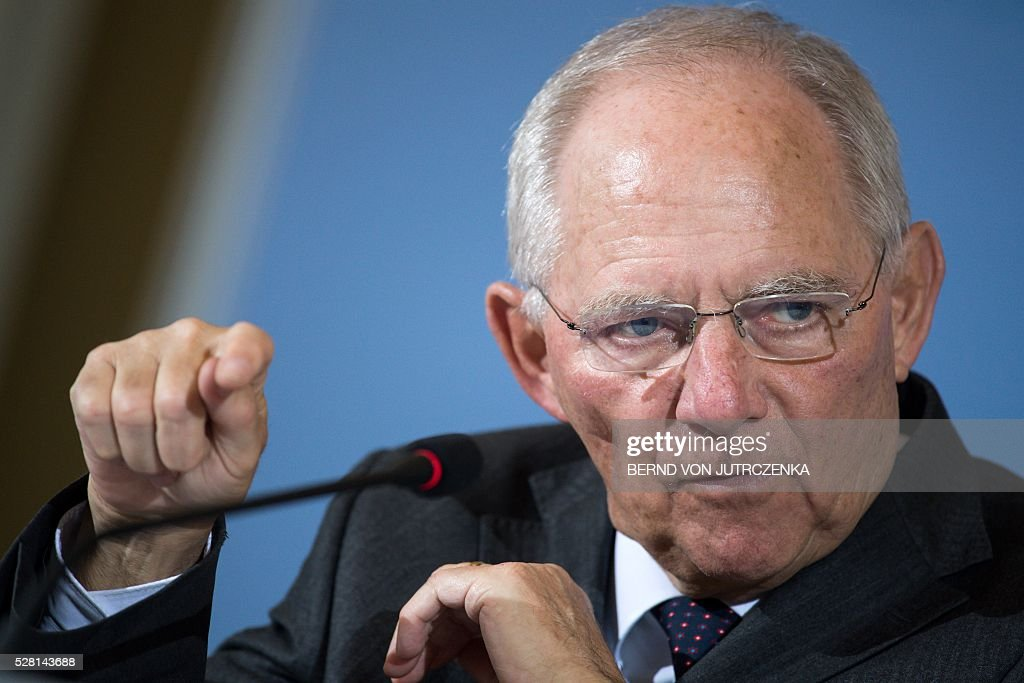 German Finance Minister Wolfgang Schaeuble speaks during a press conference on May 4, 2016 in Berlin. Berlin on Wednesday blasted 'illegitimate' financial operations carried out by banks such as Commerzbank, which are aimed at helping foreign investors shortchange the state of taxes. / AFP / dpa / Bernd von Jutrczenka / Germany OUT