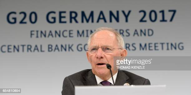 German Finance Minister Wolfgang Schaeuble speaks during a press conference after the G20 Finance Ministers and Central Bank Governors Meeting in...