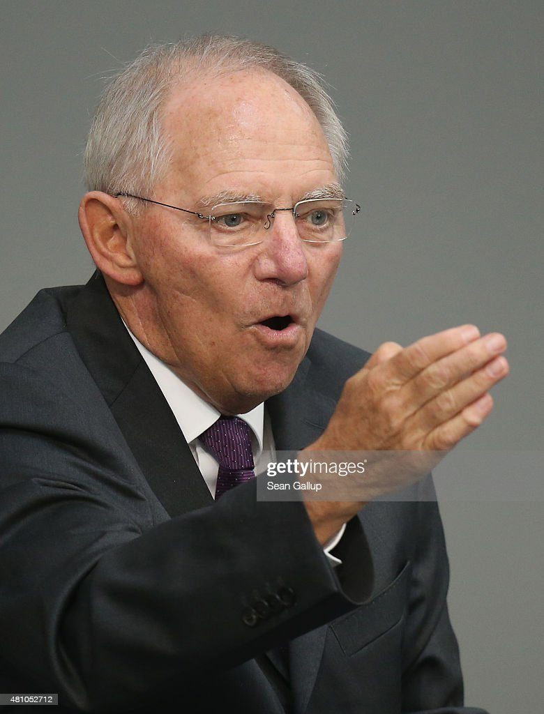 German Finance Minister Wolfgang Schaeuble speaks during debates prior to a vote over the third EU financial aid package to Greece at an extraordinary session of the German parliament, the Bundestag, on July 17, 2015 in Berlin, Germany. The Bundestag is among several European parliaments that must vote on whether to allow negotations over the aid package that will help Greece to avert state bankruptcy and shore up the Greek banking system.