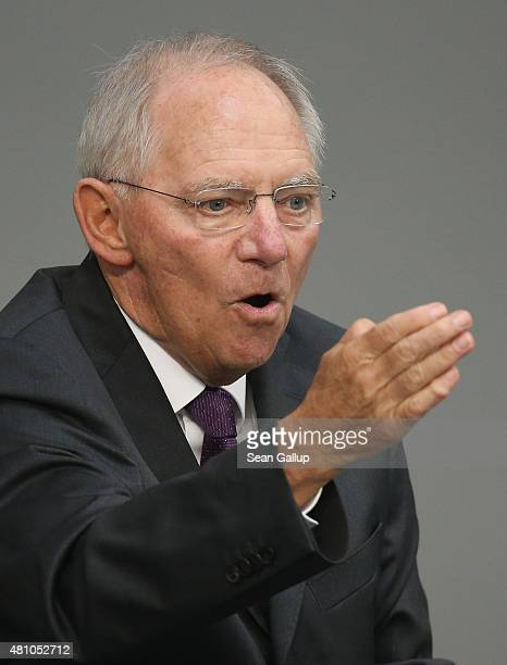German Finance Minister Wolfgang Schaeuble speaks during debates prior to a vote over the third EU financial aid package to Greece at an...