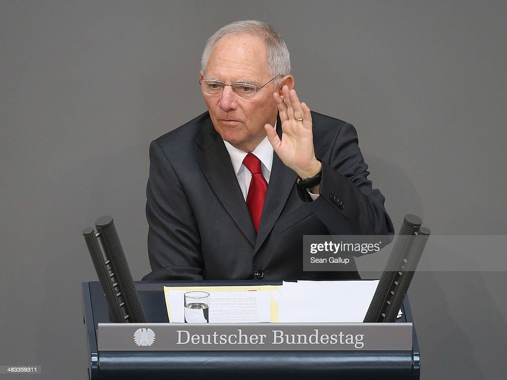 German Finance Minister Wolfgang Schaeuble speaks prior to debates over the government state budget at the Bundestag on April 8, 2014 in Berlin, Germany. The Bundestag will debate the budget over coming days as the German economy remains strong.