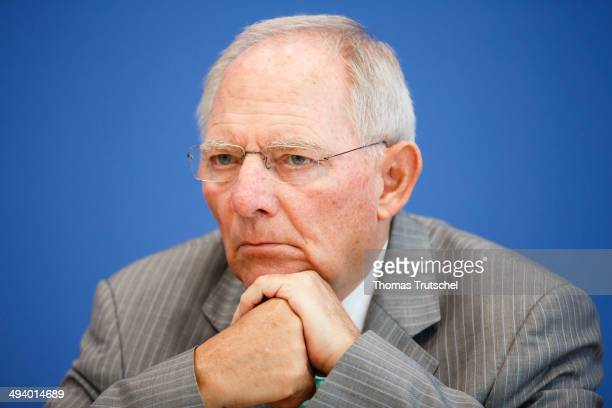 German Finance Minister Wolfgang Schaeuble speaks to the media at Bundespressekonferenz on May 27 2014 in Berlin German