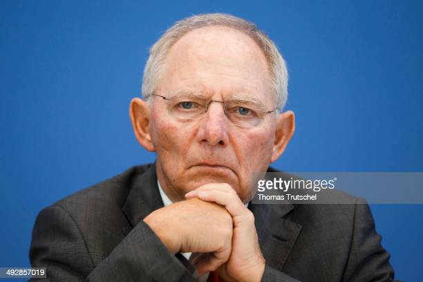 German Finance Minister Wolfgang Schaeuble speaks to the media at the Federal Press Conference on May 22 2014 in Berlin Germany