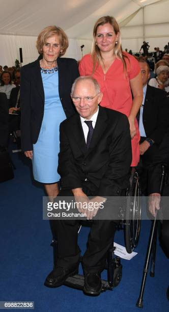 German Finance Minister Wolfgang Schaeuble with his wife Ingeborg seen at the 2017 Henry A Kissinger Prize at the American Academy on June 20 2017 in...