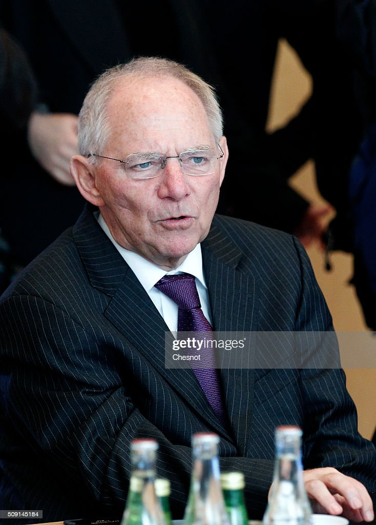 German Finance Minister Wolfgang Schauble attends a meeting at the French Ministry of Finance on February 9, 2016, in Paris, France. Michel Sapin meets Wolfgang Schauble for a Franco-German Economic Council.