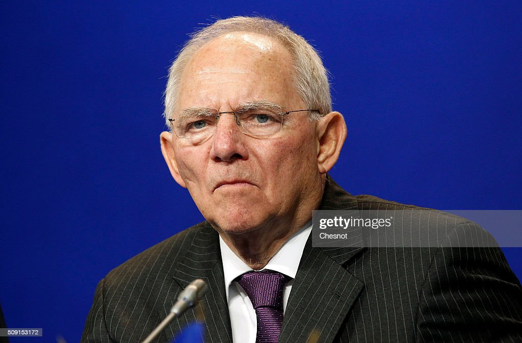 German Finance Minister Wolfgang Schauble attends a press conference at the French ministry of finances on February 9, 2016, in Paris, France. French Finance Minister, Michel Sapin meets German Finance Minister Wolfgang Schauble for a Franco-German Economic Council.