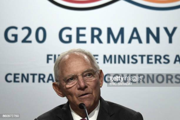 German Finance Minister Wolfgang Schauble gives a press conference as Germany ends its presidency of the G20 at the World Bank and International...