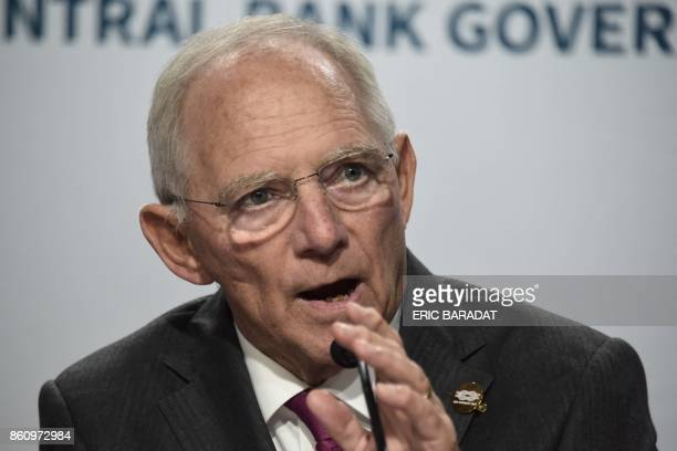 German Finance Minister Wolfgang Schauble gives a press conference at the World Bank and International Monetary Fund annual meetings on October 13...