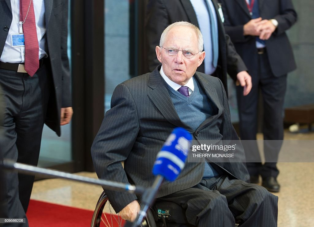 German Finance Minister Wolfgang Schäuble arrives to talk to the media prior to a meeting of Eurogroup ministers at the European Council headquarters in Brussels on February 11, 2016. / AFP / THIERRY MONASSE