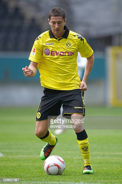 German first division Bundesliga club Borussia Dortmund's newly signed Polish Robert Lewandowski forward takes part in a tranning session in the...