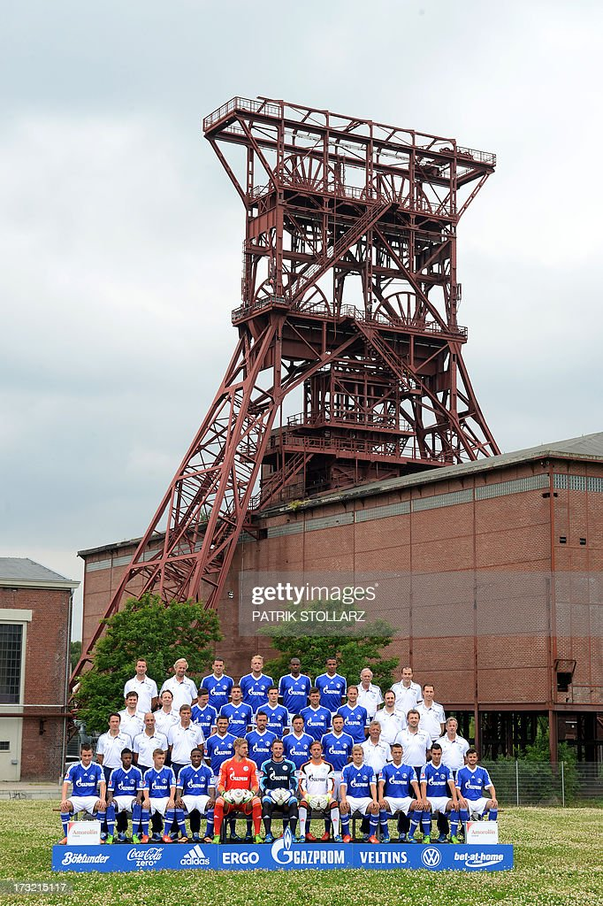German first division Bundesliga football club FC Schalke 04 team poses on July 10, 2013 during a photocall at the grounds of the former coal mine 'Consolidation' in Gelsenkirchen, western Germany.