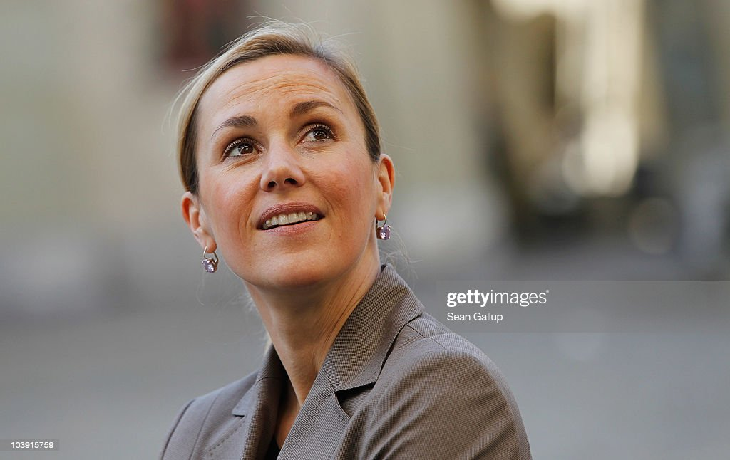 German First Lady Bettina Wulff takes a walking tour through the city center on the first day of a two-day visit to Switzerland on September 8, ... - german-first-lady-bettina-wulff-takes-a-walking-tour-through-the-city-picture-id103915759