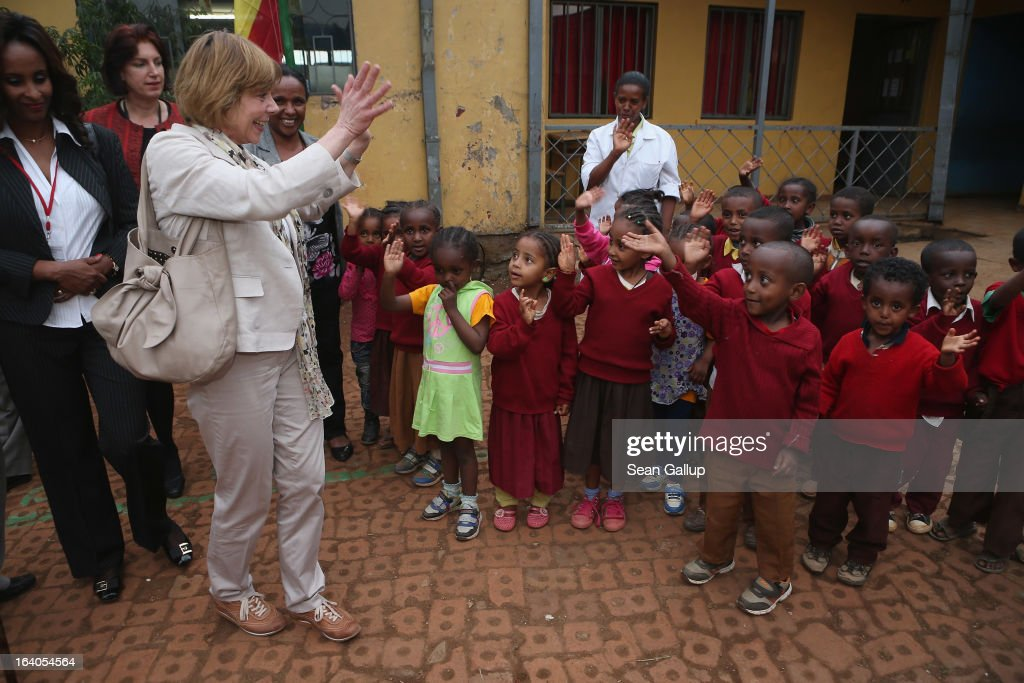 German First Lady <a gi-track='captionPersonalityLinkClicked' href=/galleries/search?phrase=Daniela+Schadt&family=editorial&specificpeople=7055235 ng-click='$event.stopPropagation()'>Daniela Schadt</a> bids farewell to kindergarten children during a visit to the AGOHELD orphanage, hospital, training center and school, founded by Abebech Gobena, on March 19, 2013 in Addis Ababa, Ethiopia. Ababech Gobena started the orphanage in 1980 and has since received help from both Ethiopian and international organizations, especially UNICEF, to expand the project to communities across Ethiopia. German President Joachim Gauck and First Lady <a gi-track='captionPersonalityLinkClicked' href=/galleries/search?phrase=Daniela+Schadt&family=editorial&specificpeople=7055235 ng-click='$event.stopPropagation()'>Daniela Schadt</a> are on the third of a four-day state visit to Ethiopia.
