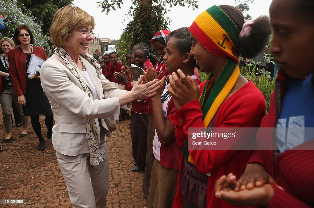German First Lady Daniela Schadt greets schoolchildren upon her arrival at the AGOHELD orphanage, hospital, training center and school, founded by Abebech Gobena, on March 19, 2013 in Addis Ababa, Ethiopia. Ababech Gobena started the orphanage in 1980 and has since received help from both Ethiopian and international organizations, especially UNICEF, to expand the project to communities across Ethiopia. German President Joachim Gauck and First Lady Daniela Schadt are on the third of a four-day state visit to Ethiopia.