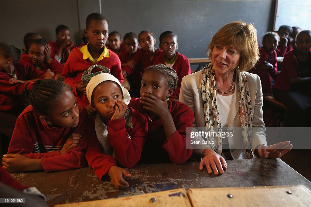 German First Lady Daniela Schadt sits among sixth and seventh grade schoolchildren during a visit to the AGOHELD orphanage, hospital, training center and school, founded by Abebech Gobena, on March 19, 2013 in Addis Ababa, Ethiopia. Ababech Gobena started the orphanage in 1980 and has since received help from both Ethiopian and international organizations, especially UNICEF, to expand the project to communities across Ethiopia. German President Joachim Gauck and First Lady Daniela Schadt are on the third of a four-day state visit to Ethiopia.