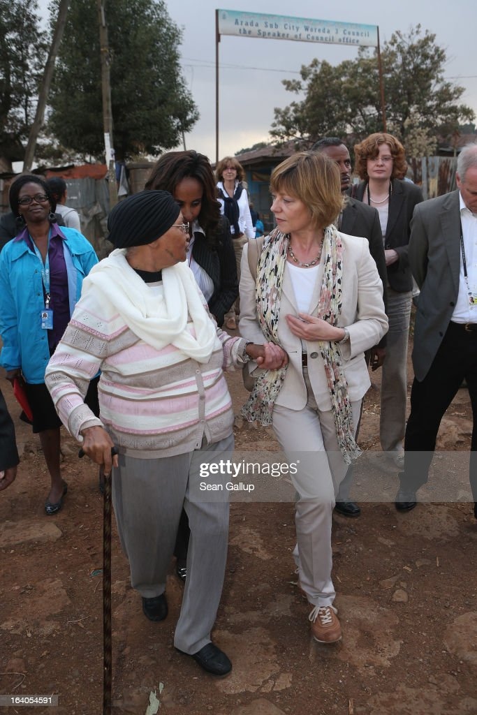 German First Lady Daniela Schadt (R) walks with Abebech Gobena, founder of the AGOHELD orphanage, hospital, training center and school, during a visit to AGOHELD on March 19, 2013 in Addis Ababa, Ethiopia. Ababech Gobena started the orphanage in 1980 and has since received help from both Ethiopian and international organizations, especially UNICEF, to expand the project to communities across Ethiopia. German President Joachim Gauck and First Lady Daniela Schadt are on the third of a four-day state visit to Ethiopia.
