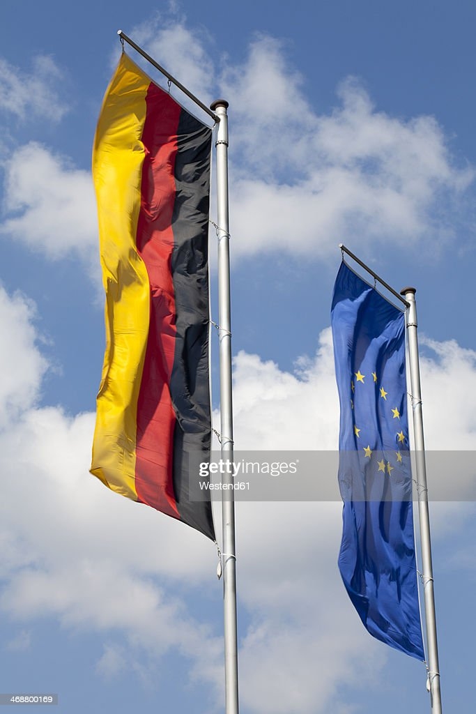 German flag and flag of the EU