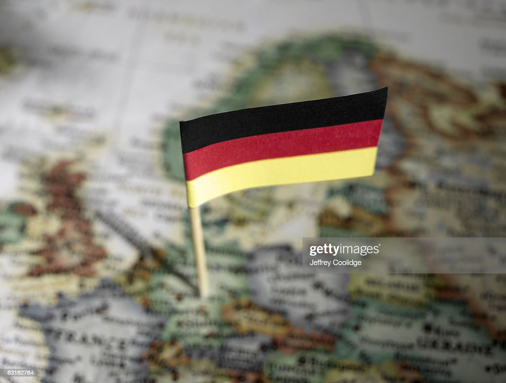 German flag in map : Stock Photo