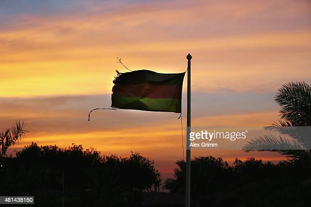 German flag is seen during day 4 of the Bayern Muenchen training camp at ASPIRE Academy for Sports Excellence on January 12 2015 in Doha Qatar