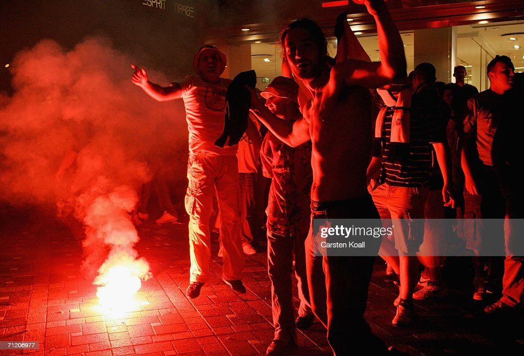 German football fans celebrate the German victory after the FIFA World Cup Germany 2006 Group A match between Germany and Poland on June 14 2006 in...