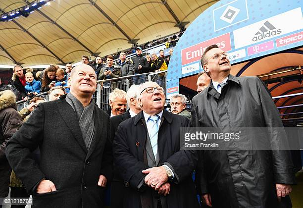 German football legend Uwe Seeler celebrates his 80th birthday with Reinhard Grindel DFB President and Olaf Sholz Hamburgs Burgermeisster and...