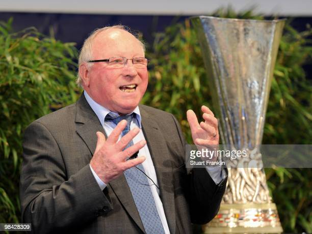 German football legend Uwe Seeler is pictured with the UEFA Europa League Cup during the handover of the UEFA Europa League cup on April 13 2010 in...