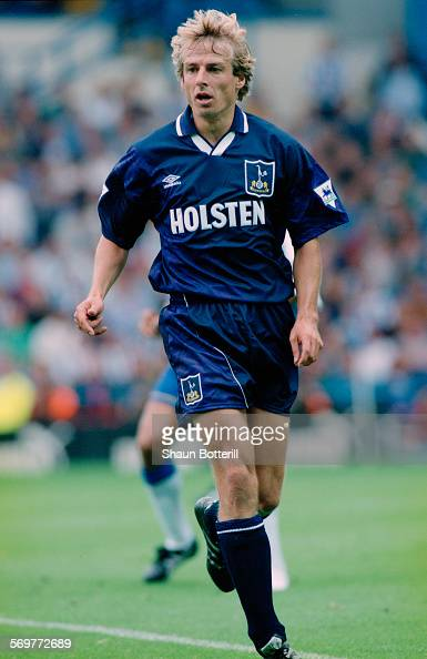 German footballer Jürgen Klinsmann in action for Tottenham Hotspur against Sheffield Wednesday in a Premier League match at Hillsborough stadium...