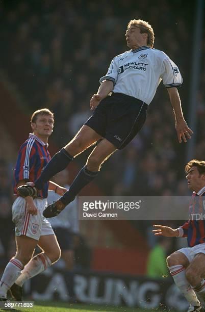 German footballer Jürgen Klinsmann of Tottenham Hotspur in the air during an FA Carling Premiership match against Crystal Palace at Selhurst Park...