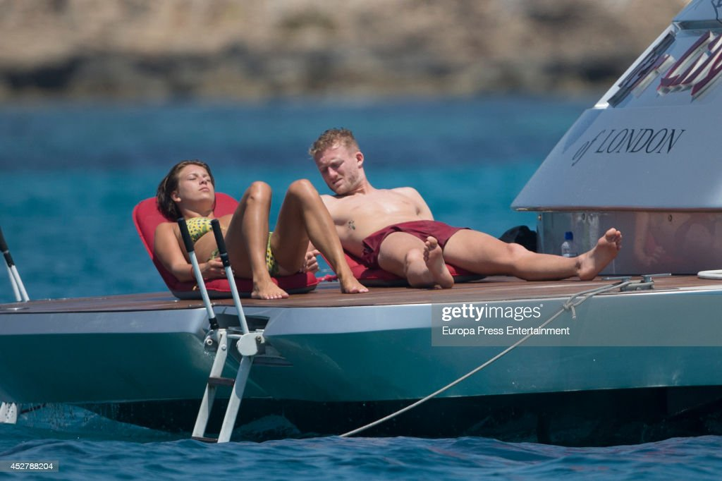German footballl player Andre Schurrle and Montana Yorke are seen on July 26, 2014 in Ibiza, Spain.