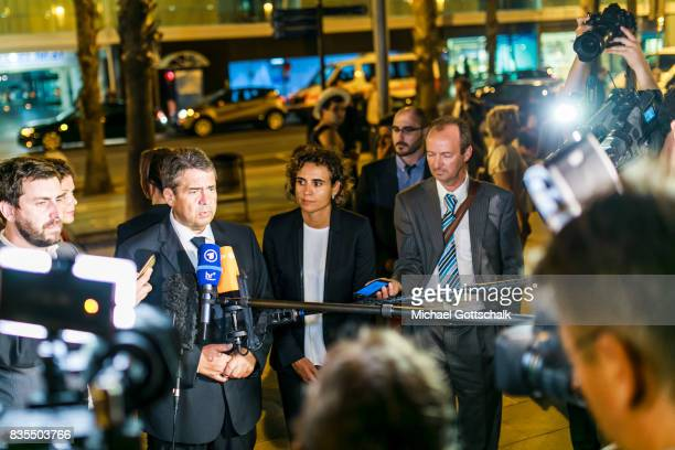 German Foreign Minister and Vice Chancellor Sigmar Gabriel and Spanish minister for health Dolors Montserrat i Montserrat talk to journalists in...