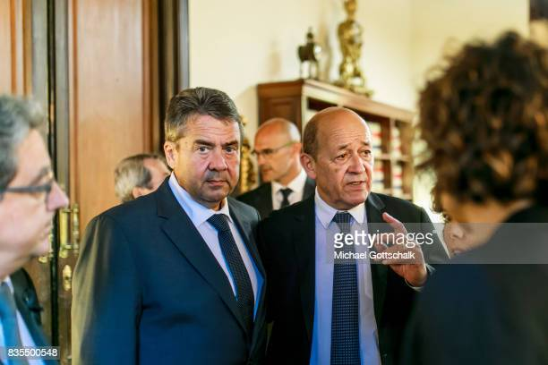 German Foreign Minister and Vice Chancellor Sigmar Gabriel and JeanYves Le Drian Foreign Minister of France meet after visiting Las Ramblas to leave...