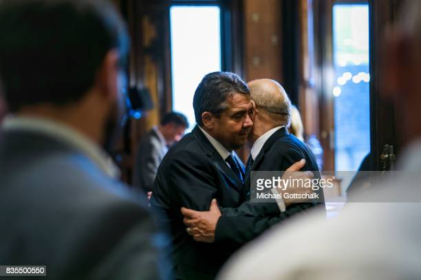 German Foreign Minister and Vice Chancellor Sigmar Gabriel and JeanYves Le Drian Foreign Minister of France embarce after visiting Las Ramblas to...