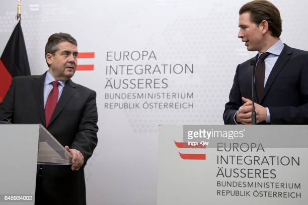 German Foreign Minister and Vice Chancellor Sigmar Gabriel and Austrian Foreign Minister Sebastian Kurz speaks to the media on February 27 2017 in...