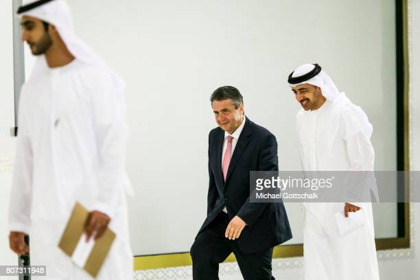 Abu Dhabi United Arab Emirates July 04 German Foreign Minister and Vice Chancellor Sigmar Gabriel and foreign minister Sheik Abdullah bin Zayed Al...