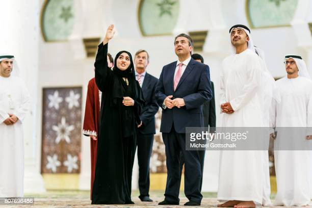 German Foreign Minister and Vice Chancellor Sigmar Gabriel and foreign minister Sheik Abdullah bin Zayed Al Nahyan visits Sheik Zayid Mosque during...