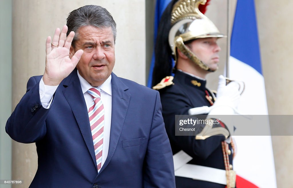 German Foreign Minister and Vice Chancellor Sigmar Gabriel gestures as he arrives at the Elysee Presidential Palace on August 30, 2017 in Paris, France. Sigmar Gabriel takes part in the French Council of Ministers.