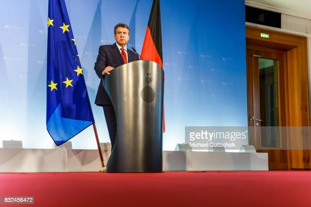 German Foreign Minister and Vice Chancellor Sigmar Gabriel holds a press conference after a meeting with members of the Deep Cuts Commission for...