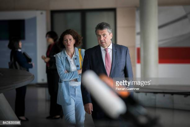 German Foreign Minister and Vice Chancellor Sigmar Gabriel is pictured before the press statement about the conflict with North Korea on September 05...