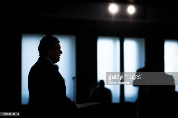 German Foreign Minister and Vice Chancellor Sigmar Gabriel is pictured during a press statement on October 09 2017 in Berlin Germany