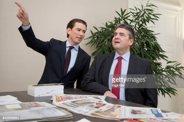 German Foreign Minister and Vice Chancellor Sigmar Gabriel meets with Austrian Foreign Minister Sebastian Kurz on February 27 2017 in Vienna Austria...